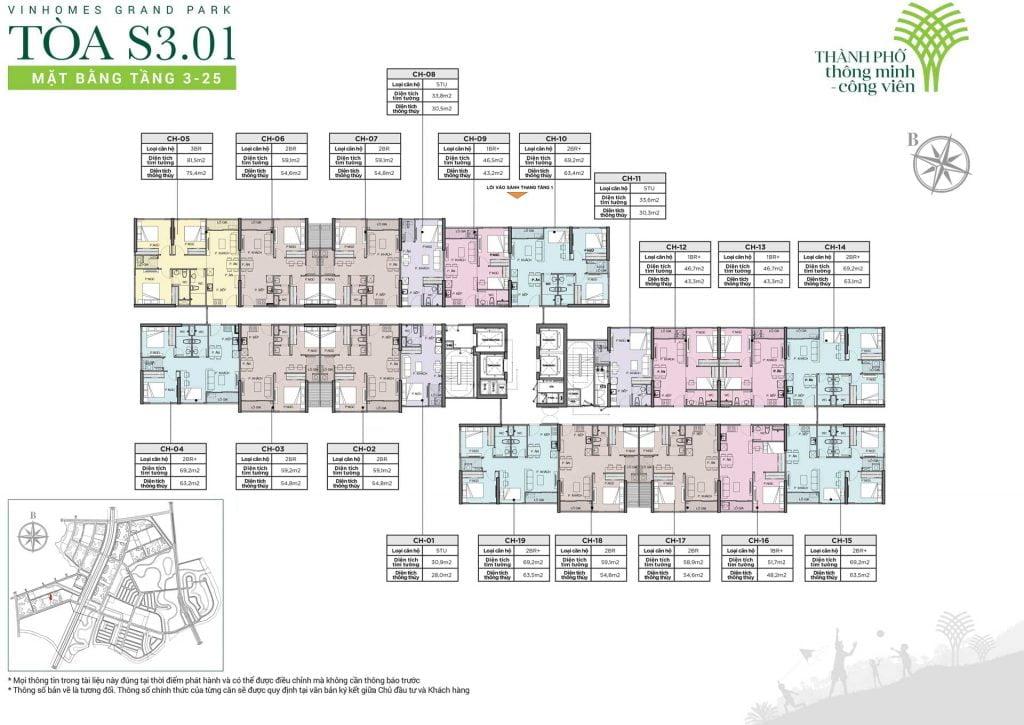 Mặt bằng tòa S3.01 tầng 3-25