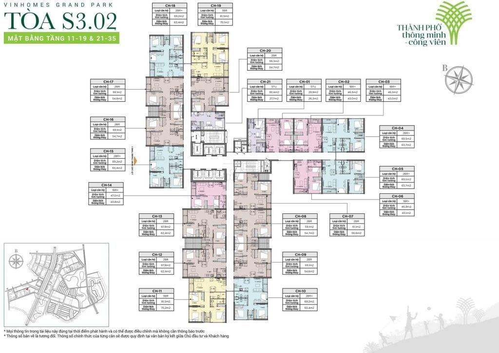 Mặt bằng tòa S3.02 tầng 11-19 & 21-35
