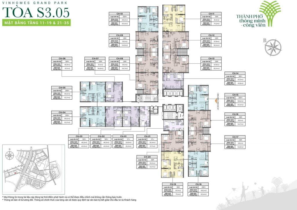 Mặt bằng tòa S3.05 tầng 11-19 & 21-35