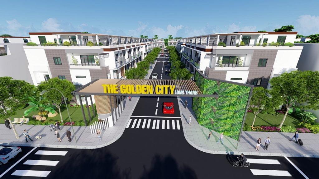 Hình ảnh phối cảnh cổng chào vào dự án khi có đầy đủ cư dân xây dựng nhà trong tương lai