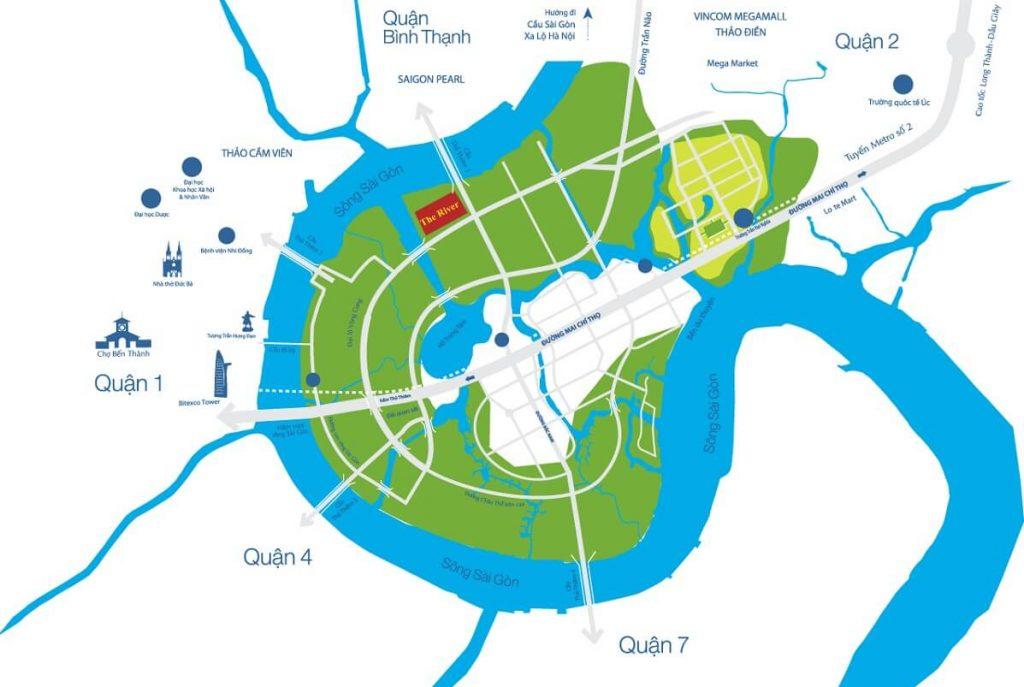 Vị trí của The River trong khu đô thị Thủ Thiêm Quận 2