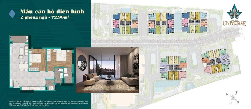 Thiết kế căn hộ 2PN 72.96m2