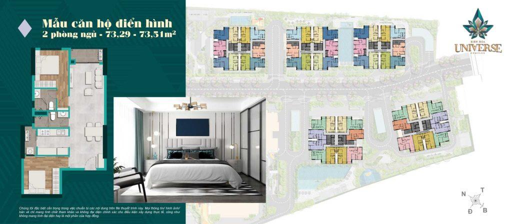 Thiết kế căn hộ 2PN 73.29m2 - 73.51m2