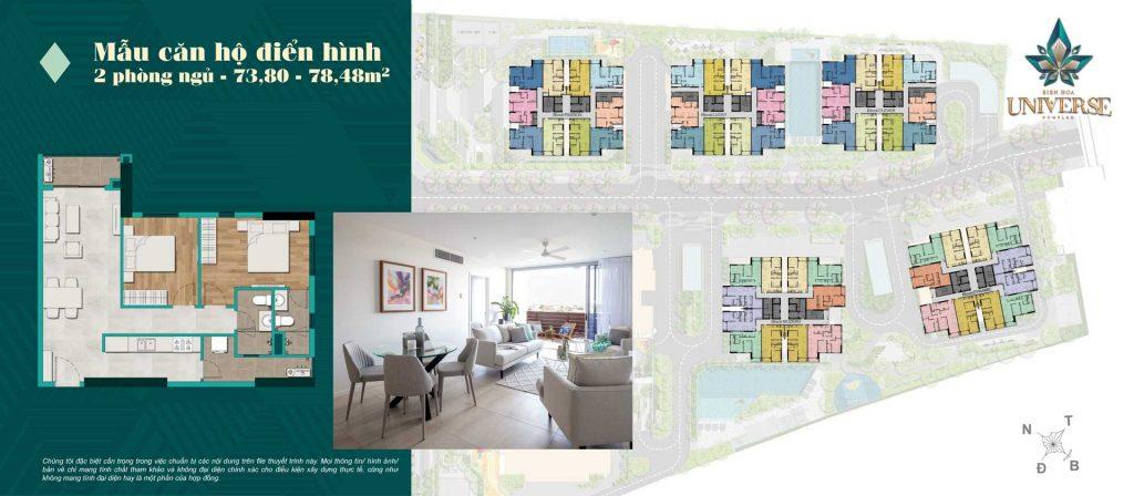 Thiết kế căn hộ 2PN 73.80m2 - 78.48m2