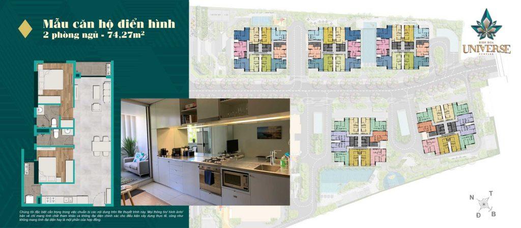 Thiết kế căn hộ 2PN 74.27m2