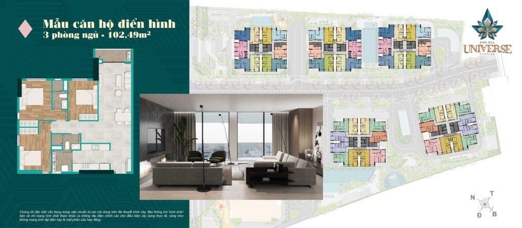 Thiết kế căn hộ 3PN 102.49m2