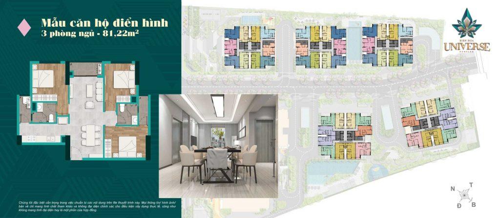Thiết kế căn hộ 3PN 81.22m2
