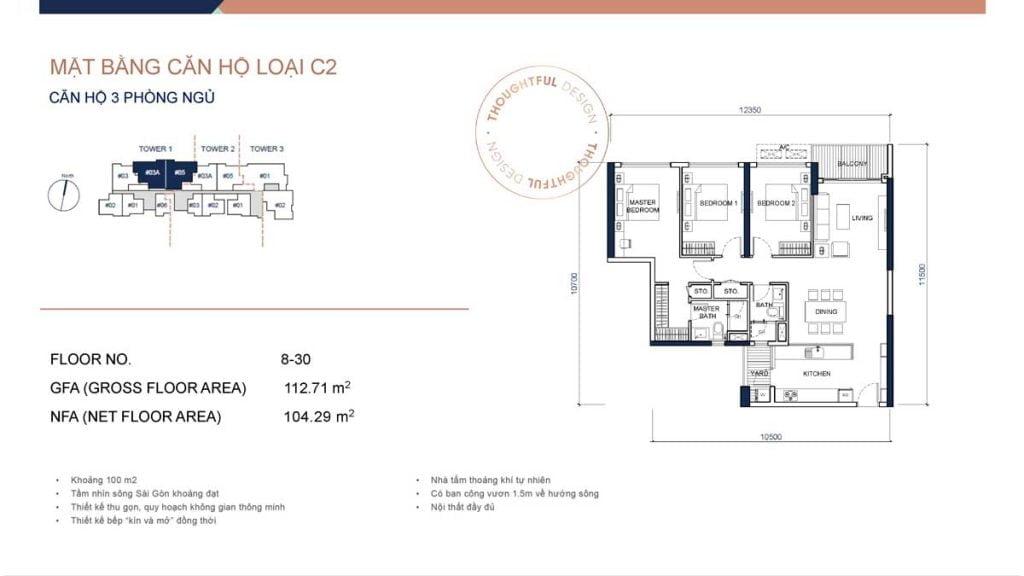 Mặt bằng căn hộ 3PN loại C2