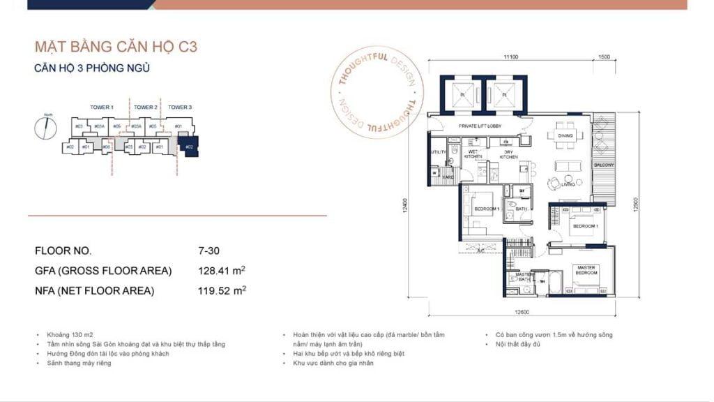 Mặt bằng căn hộ 3PN loại C3