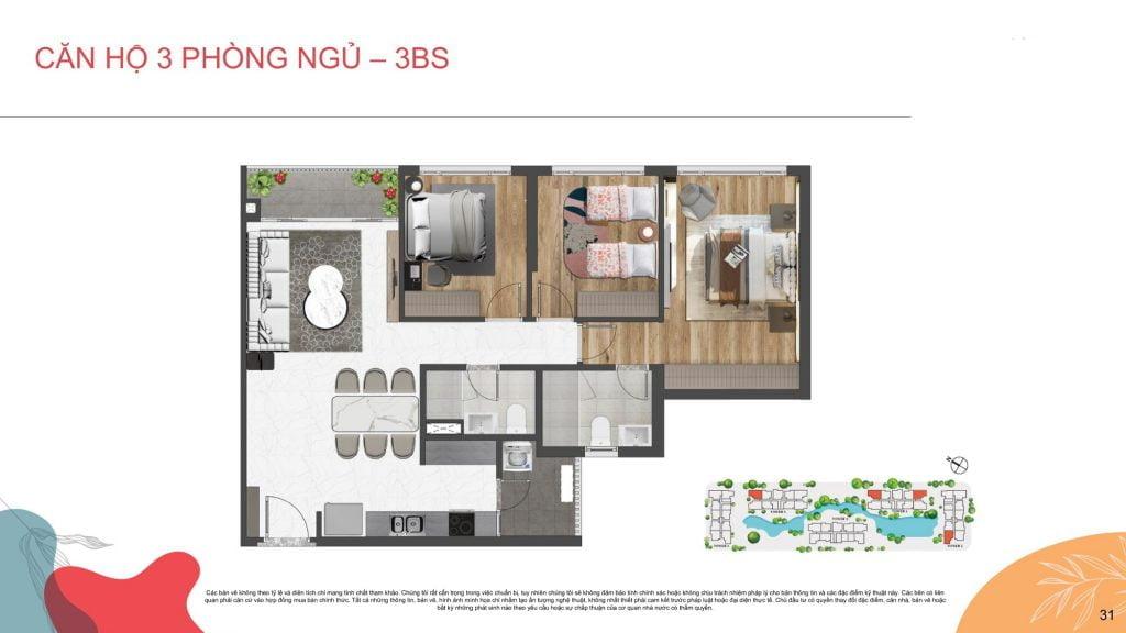 Thiết kế căn hộ 3PN Celesta Rise