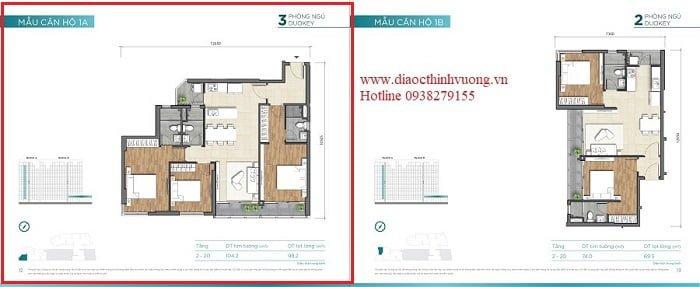 Mẫu thiết kế căn hộ 3PN dự án Dlusso Emerald Quận 2