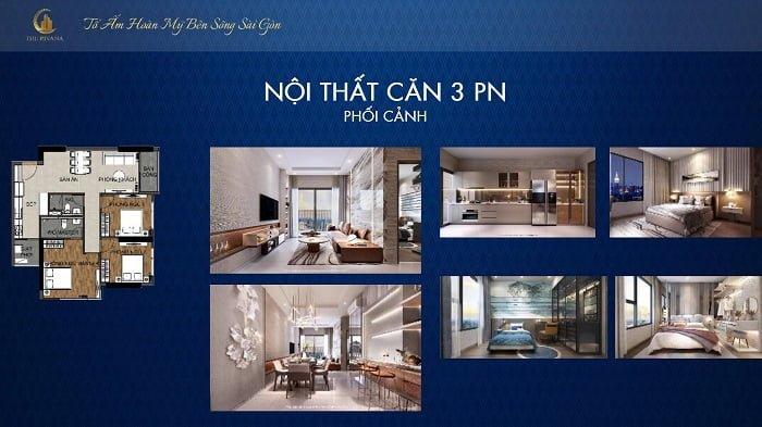 Thiết kế căn hộ The Rivana loại căn 3PN