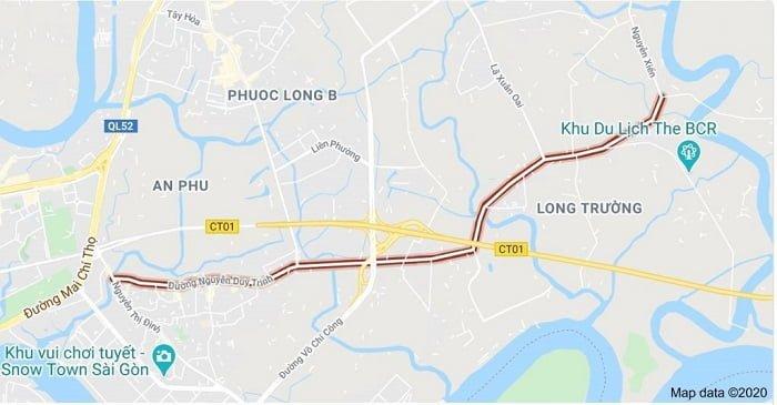 Toàn tuyến đường quận 9 mở rộng Nguyễn Duy Trinh