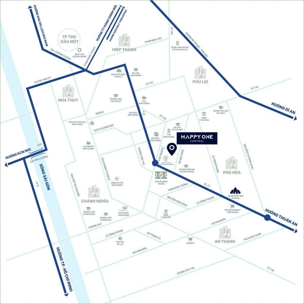 Happy One Central có vị trí trung tâm của TP Thủ Dầu Một