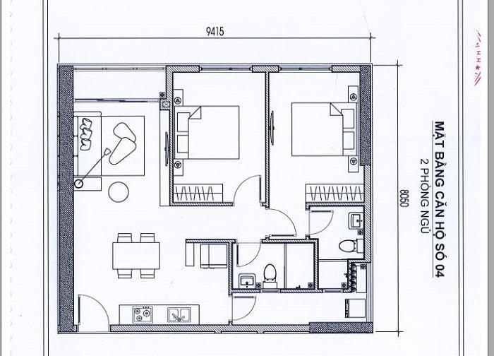 Thiết kế căn hộ thể hiện rõ trong hợp đồng mua bán