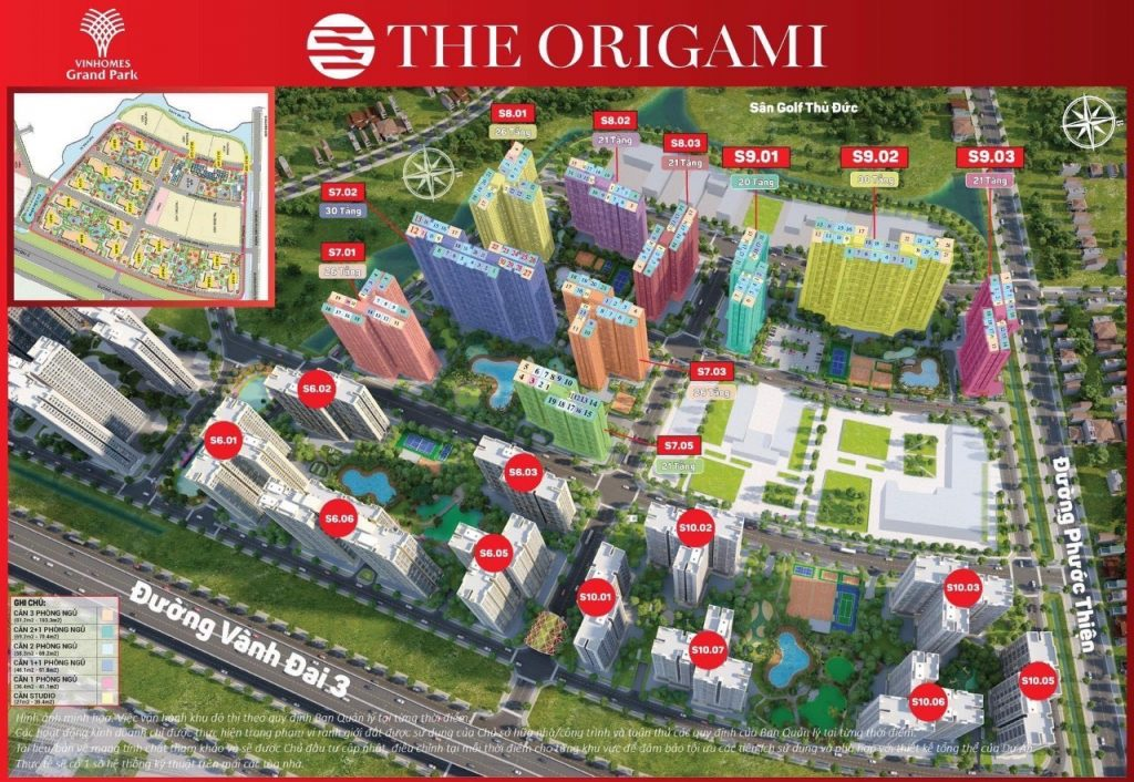 Các block tòa nhà The Origami