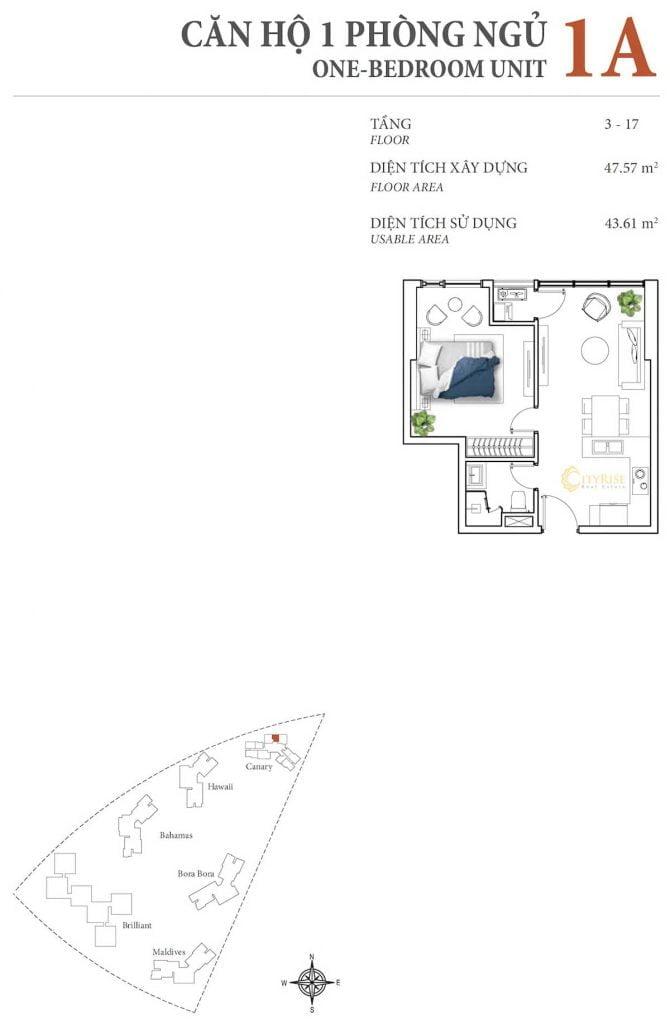 Thiết kế căn hộ 1PN - 1A tháp Canary