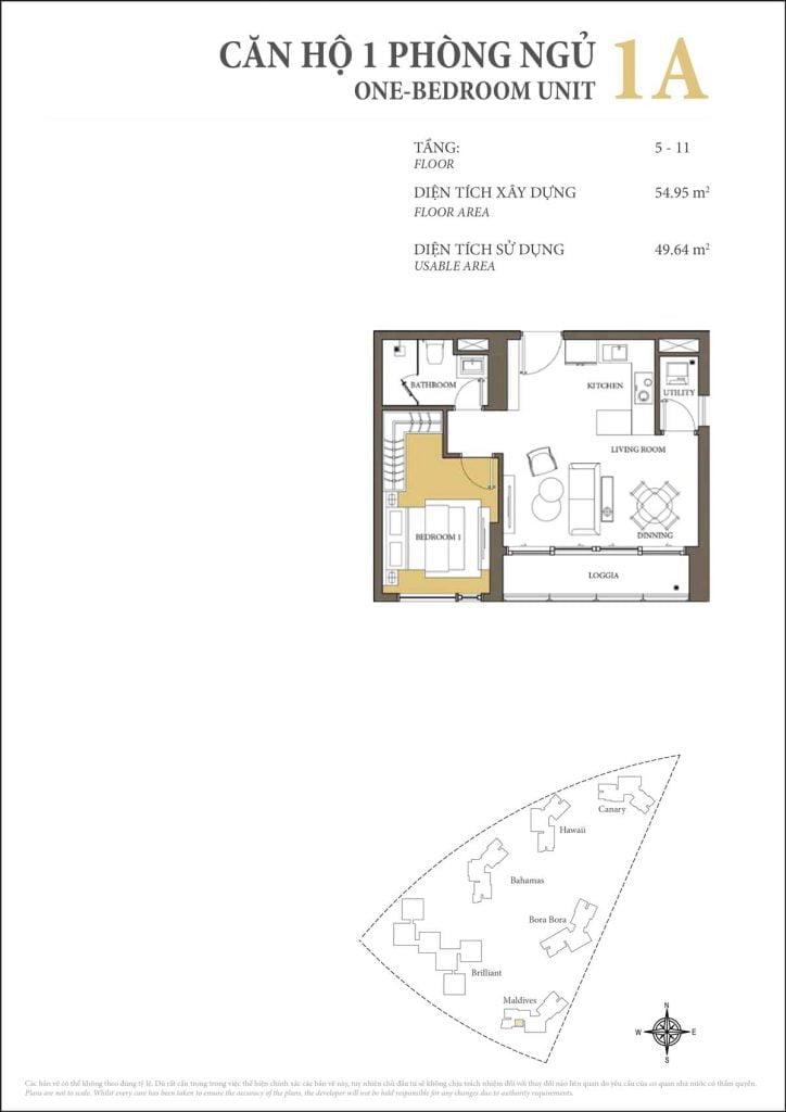Thiết kế căn hộ 1PN - 1A tháp Maldives