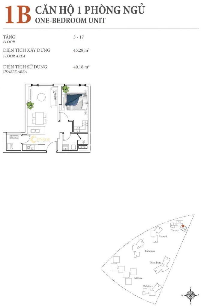 Thiết kế căn hộ 1PN - 1B tháp Canary