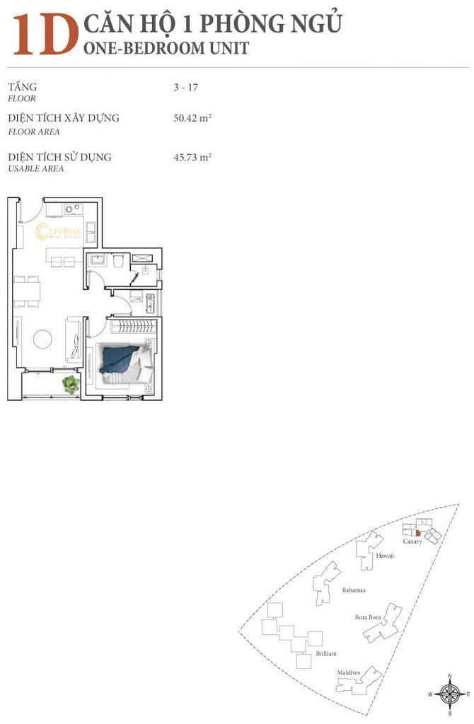 Thiết kế căn hộ 1PN - 1D tháp Canary