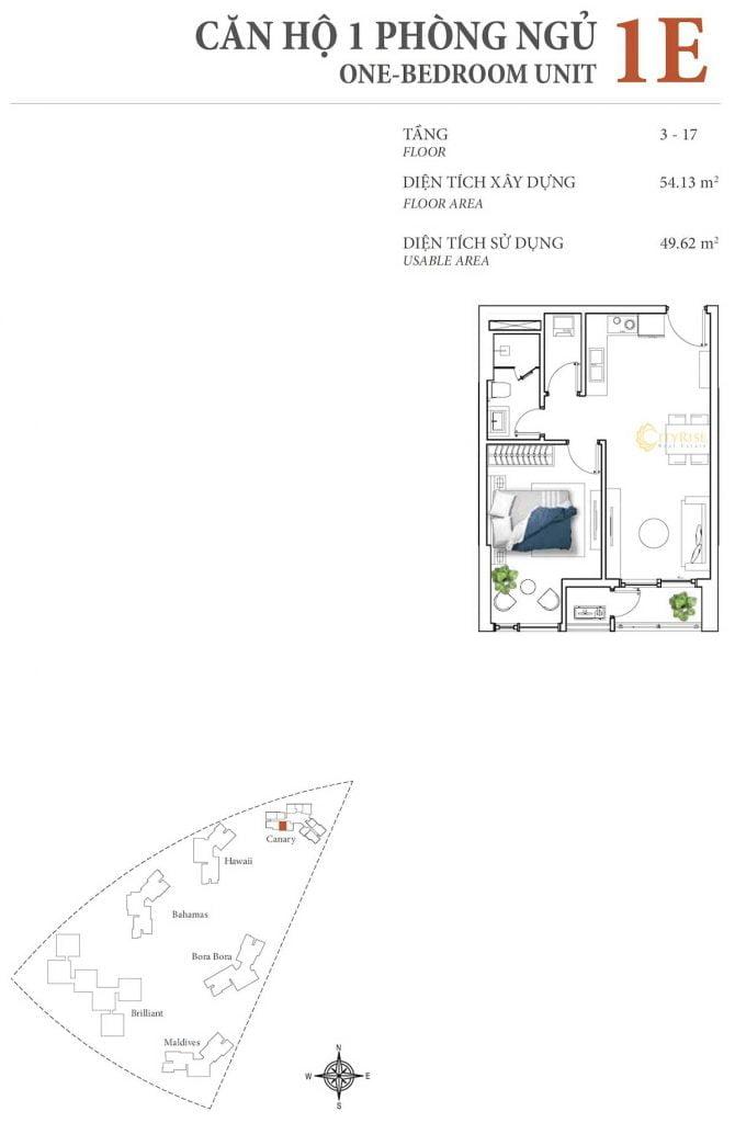 Thiết kế căn hộ 1PN - 1E tháp Canary