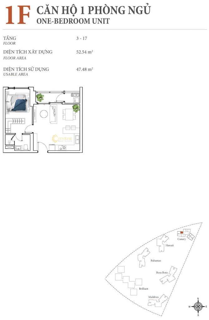 Thiết kế căn hộ 1PN - 1F tháp Canary
