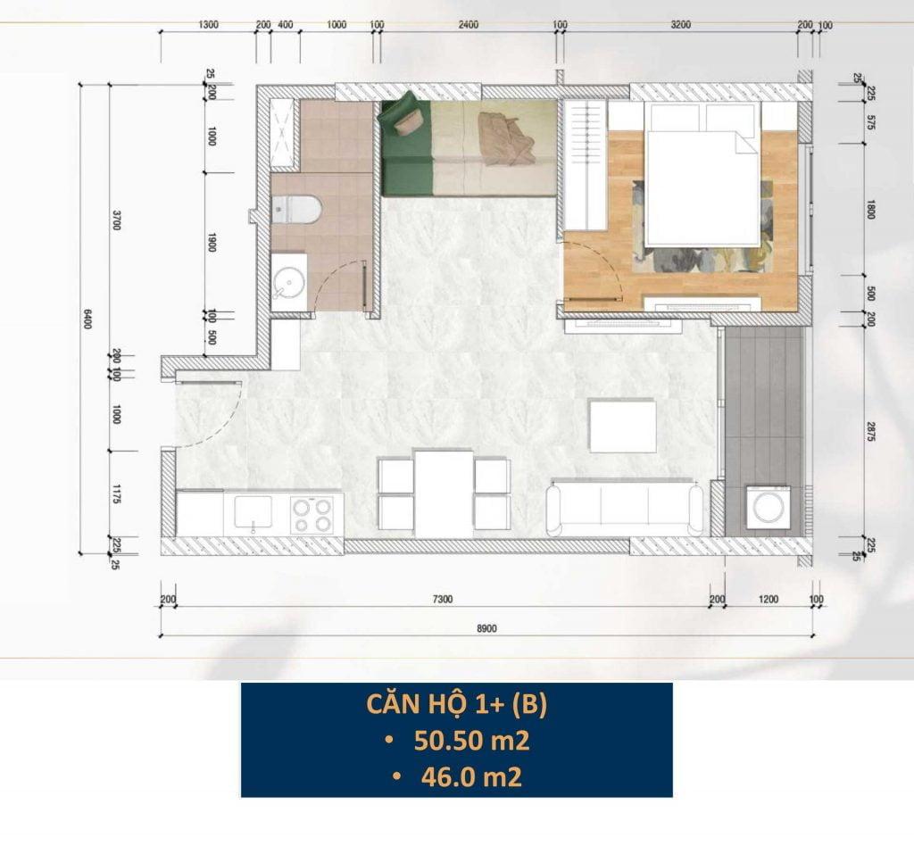 Thiết kế căn hộ 1PN+ (B)