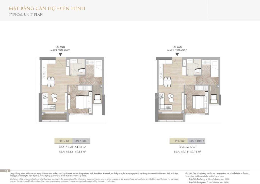 Thiết kế căn hộ 1PN+1 loại 1-2