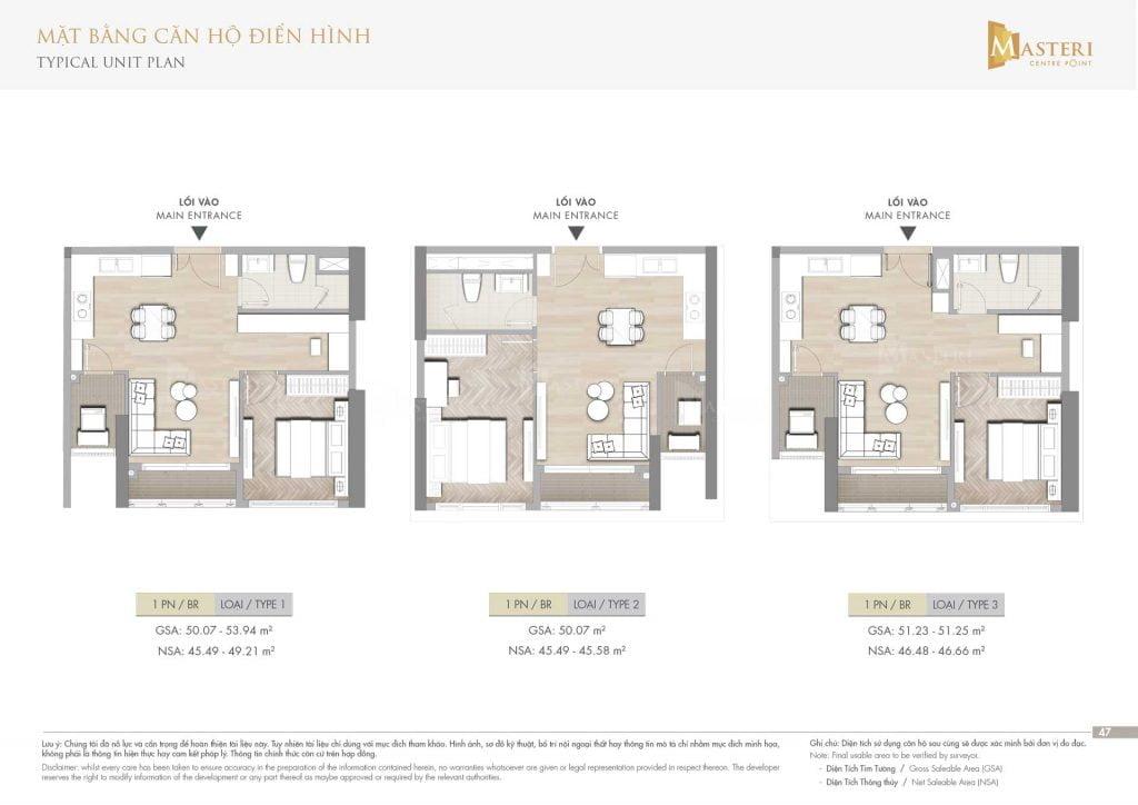 Thiết kế căn hộ 1PN loại 1-2-3