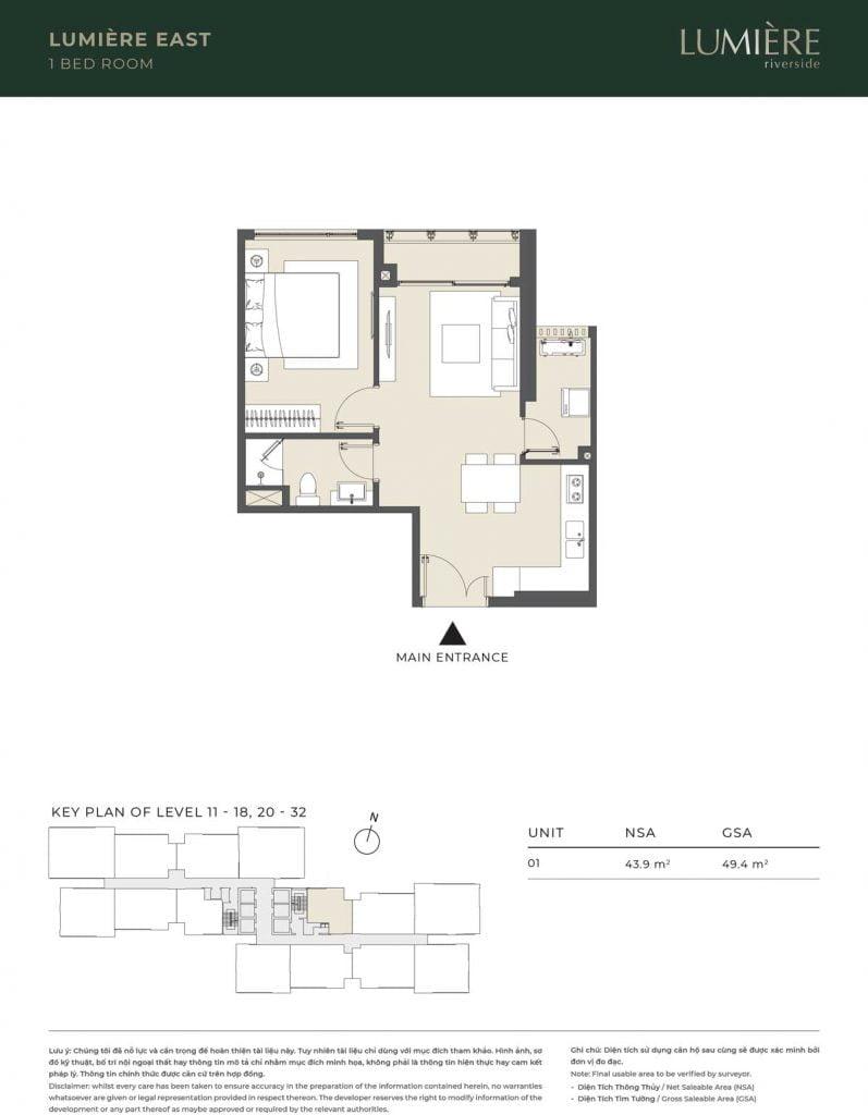 Thiết kế căn hộ 1PN – căn số 1 tầng 11-18, 20-32
