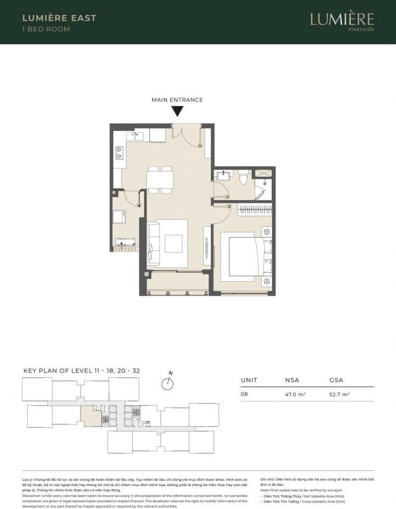 Thiết kế căn hộ 1PN – căn số 8 tầng 11-18, 20-32