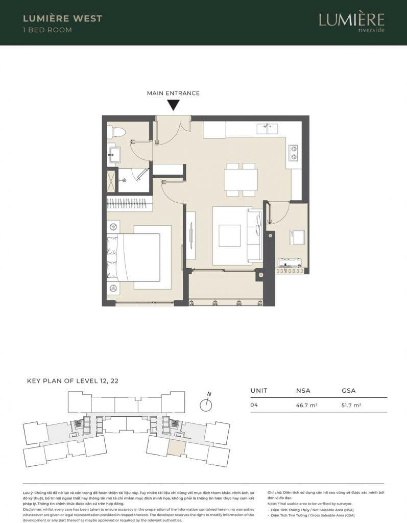 Thiết kế căn hộ 1PN – căn số 4 tầng 12, 22