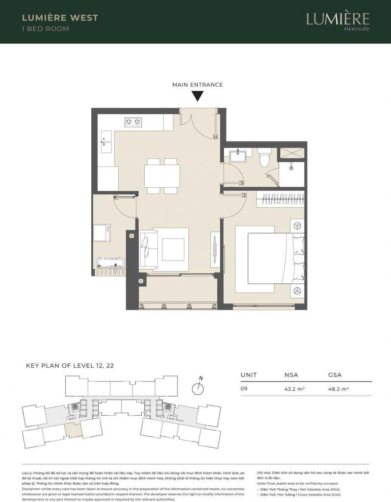 Thiết kế căn hộ 1PN – căn số 9 tầng 12, 22