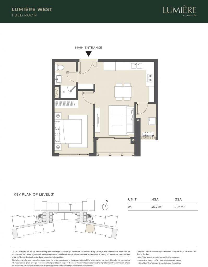Thiết kế căn hộ 1PN – căn số 4 tầng 31