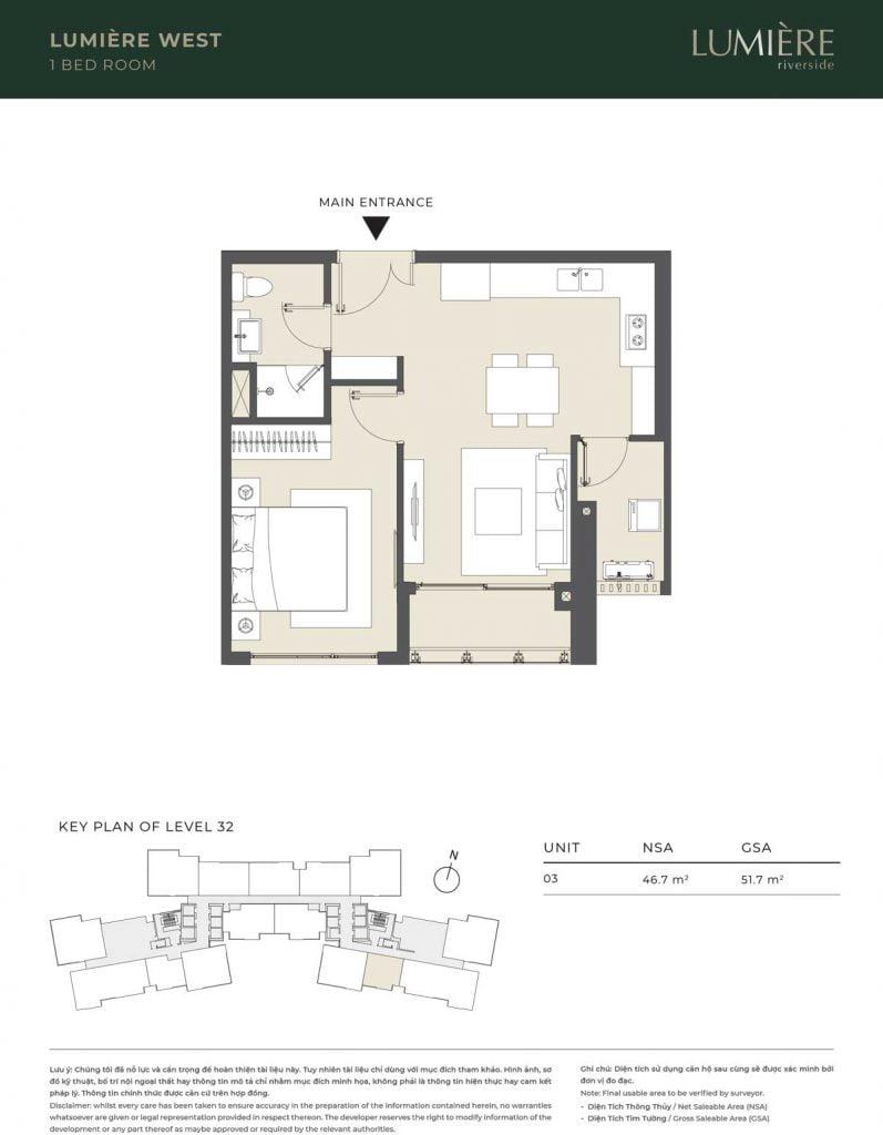 Thiết kế căn hộ 1PN – căn số 3 tầng 32