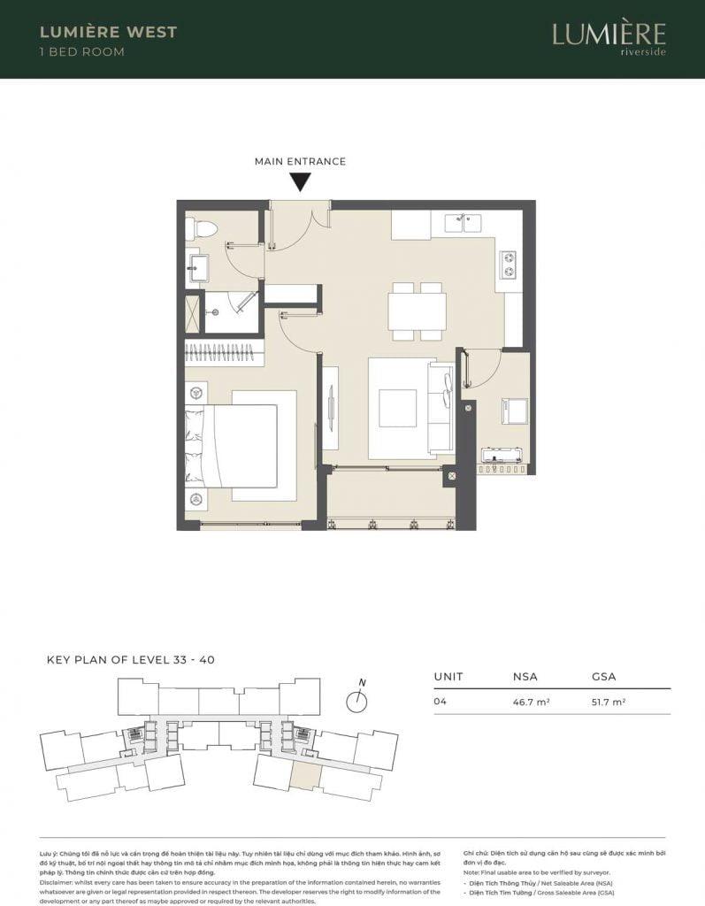 Thiết kế căn hộ 1PN – căn số 4 tầng 33-40