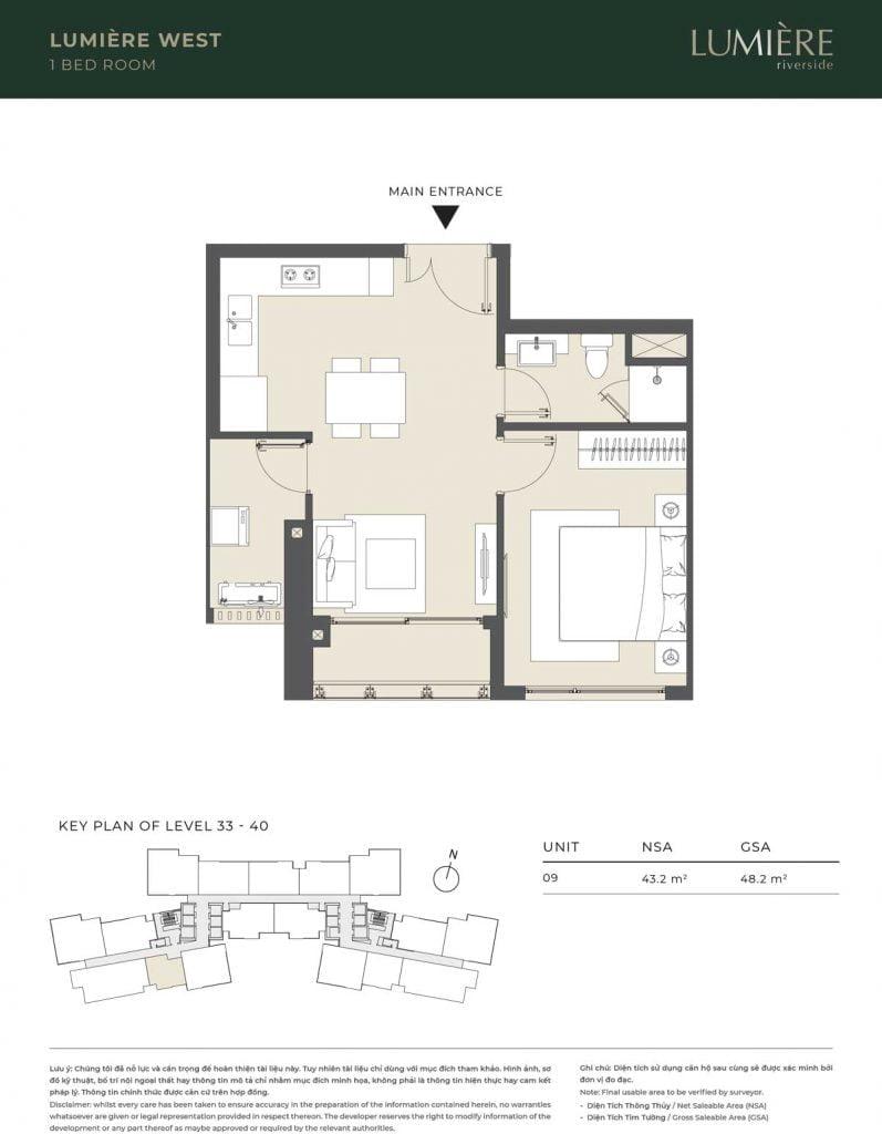 Thiết kế căn hộ 1PN – căn số 9 tầng 33-40