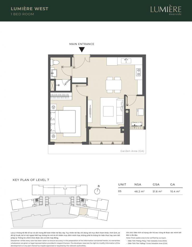 Thiết kế căn hộ 1PN – căn số 5 tầng 7