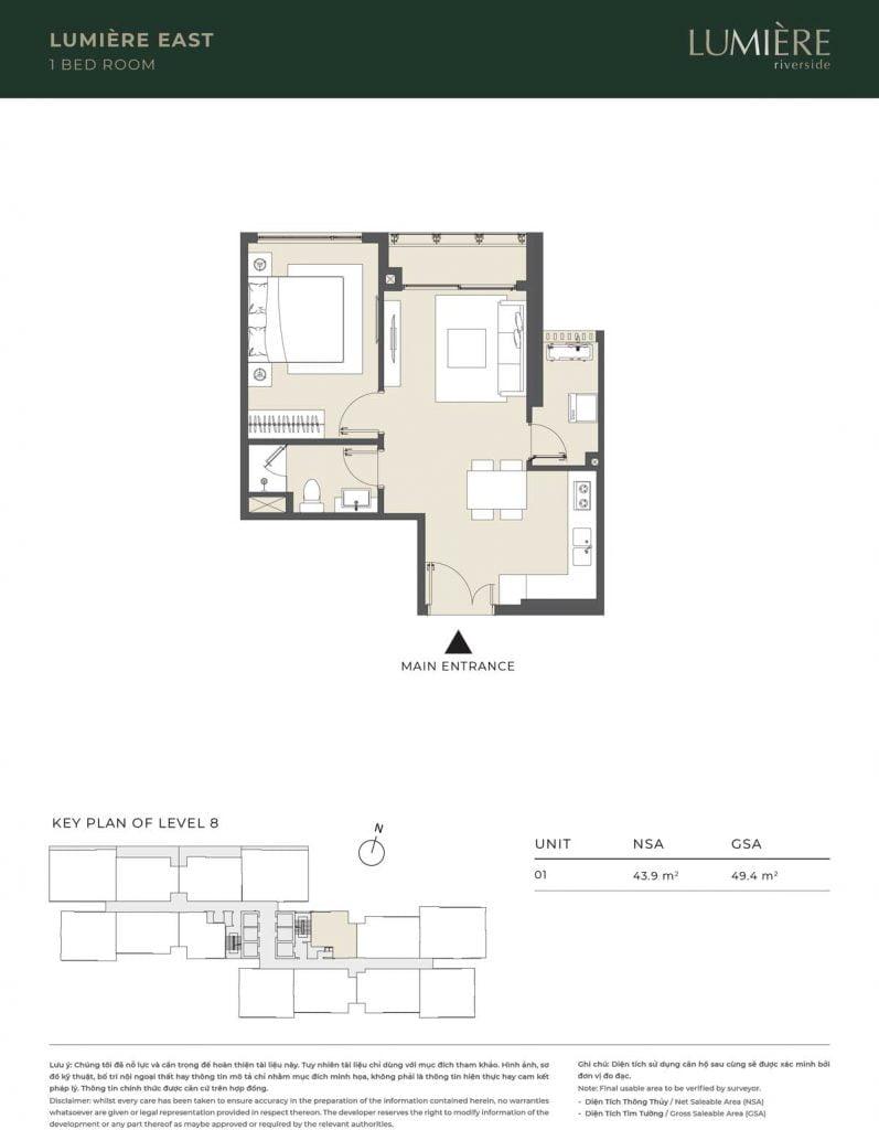 Thiết kế căn hộ 1PN - căn số 1 tầng 8