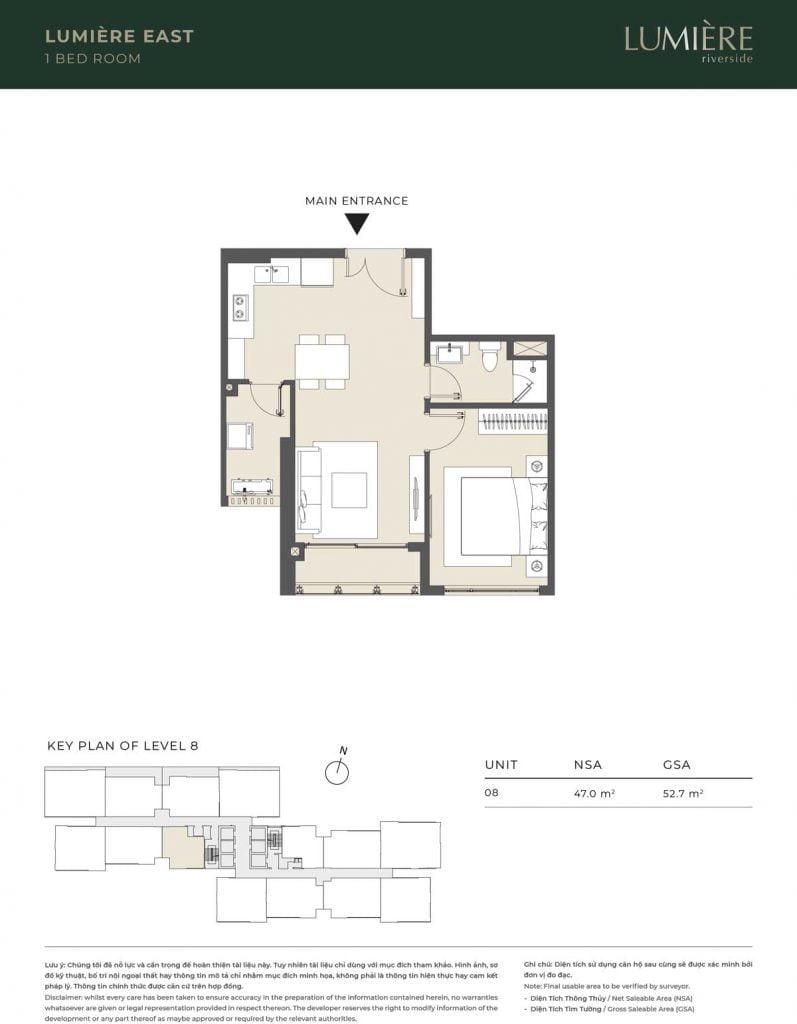 Thiết kế căn hộ 1PN - căn số 8 tầng 8