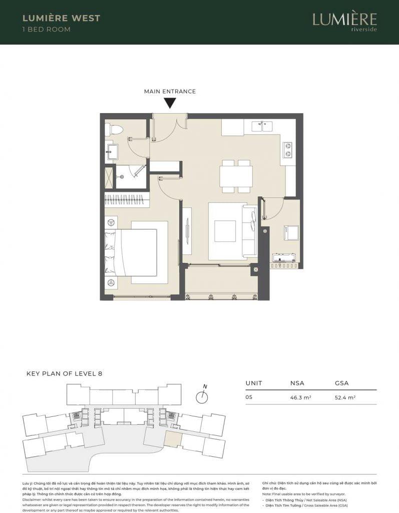 Thiết kế căn hộ 1PN – căn số 5 tầng 8