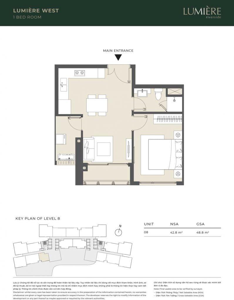 Thiết kế căn hộ 1PN – căn số 8 tầng 8