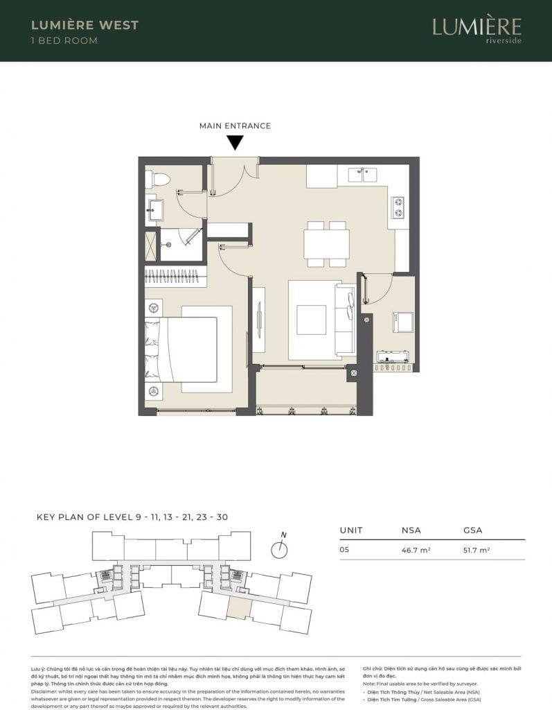Thiết kế căn hộ 1PN – căn số 5 tầng 9-11, 13-21, 23-30