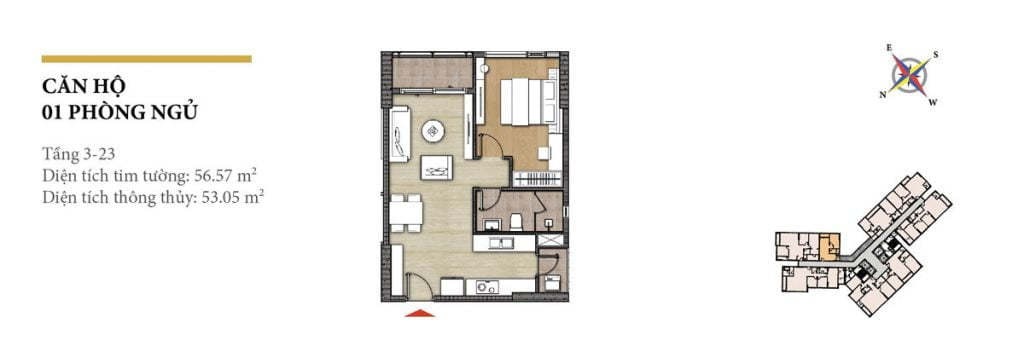 Thiết kế căn hộ 1PN tháp Hawaii