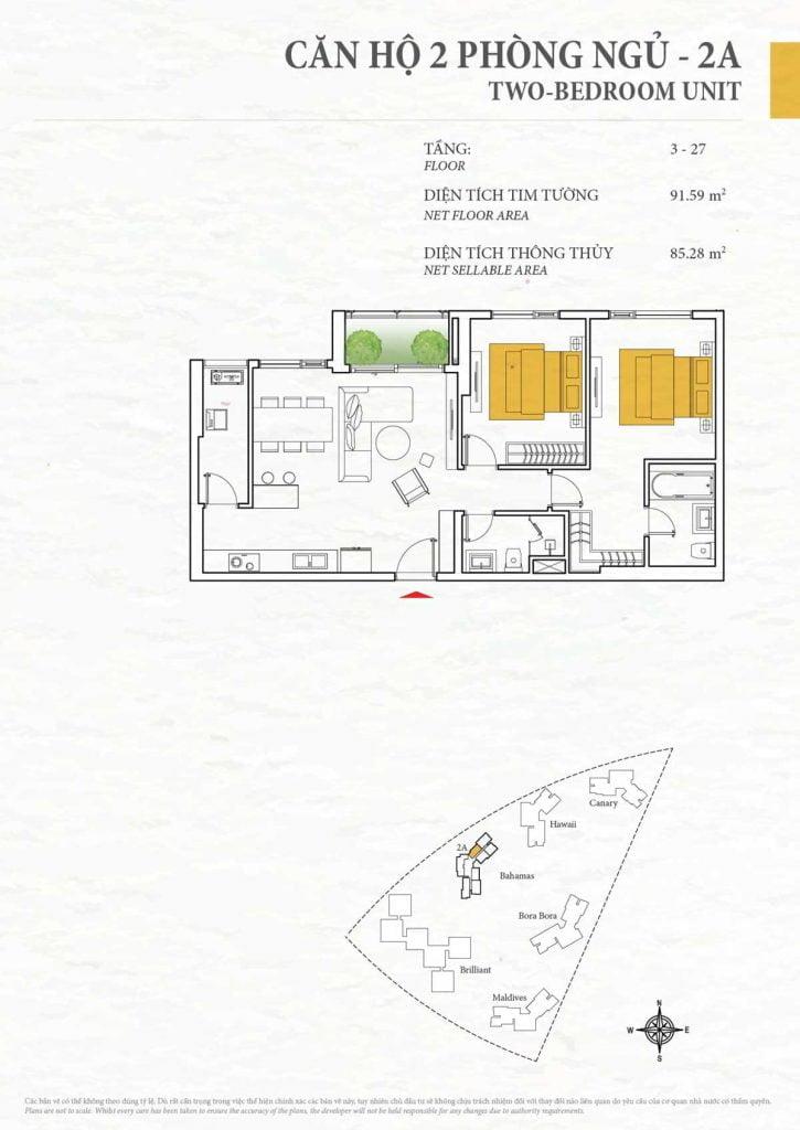Thiết kế căn hộ 2PN - 2A tháp Bahamas