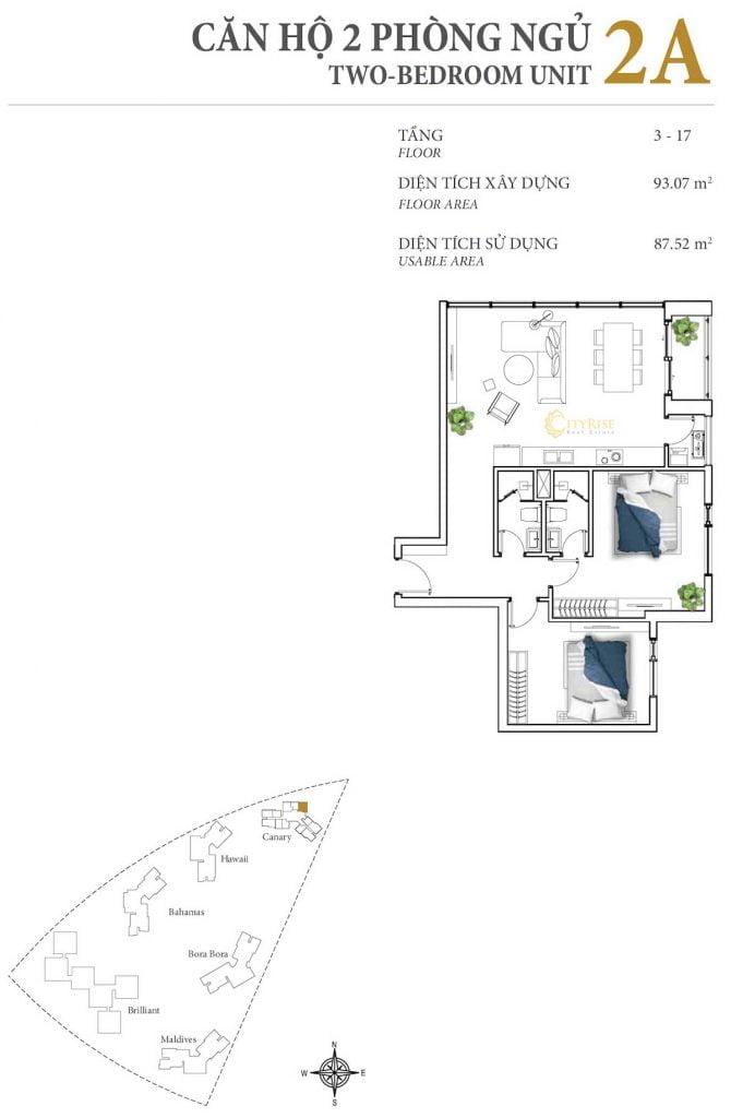 Thiết kế căn hộ 2PN - 2A tháp Canary