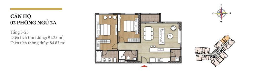 Thiết kế căn hộ 2PN - 2A tháp Hawaii