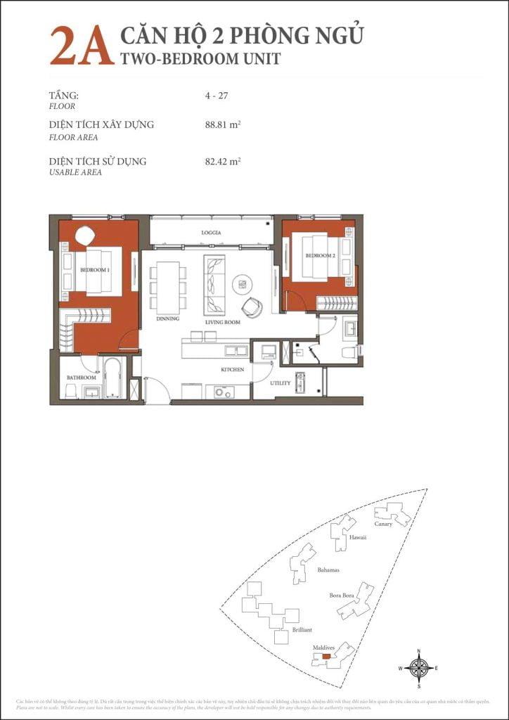 Thiết kế căn hộ 2PN - 2A tháp Maldives