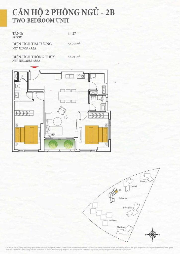 Thiết kế căn hộ 2PN - 2B tháp Bahamas