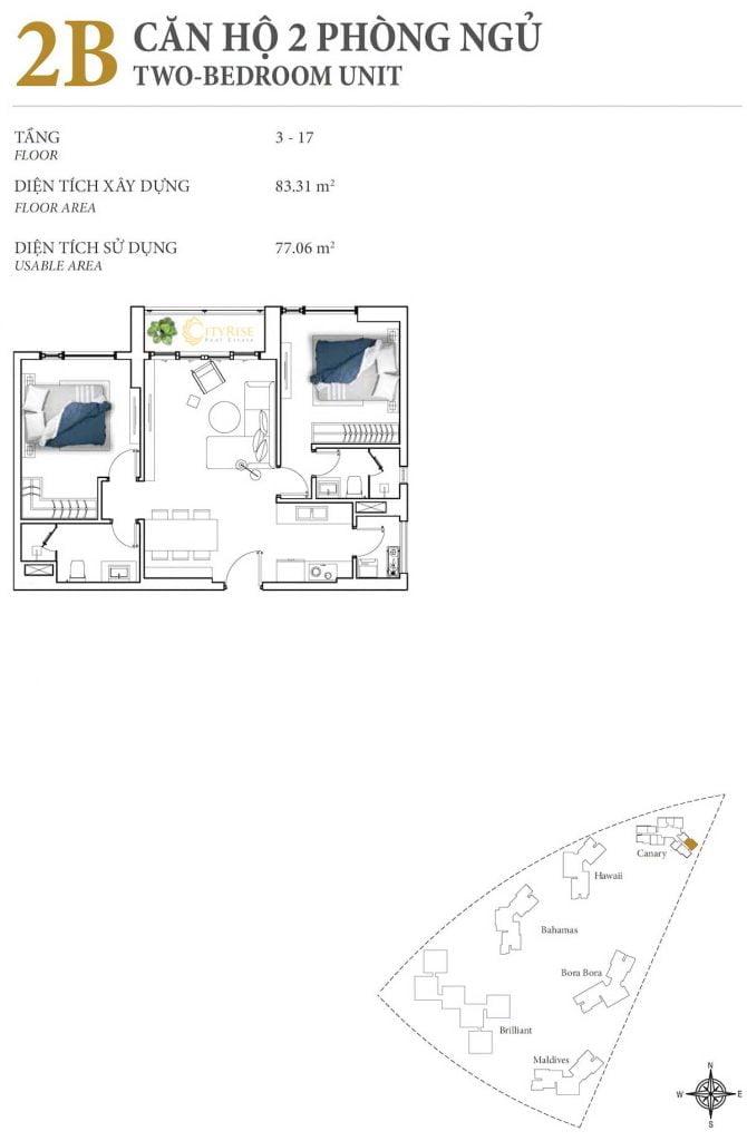 Thiết kế căn hộ 2PN - 2B tháp Canary